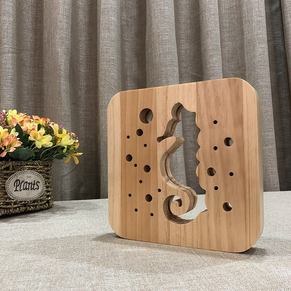 Seahorse - 3D Wooden Creative Lamp