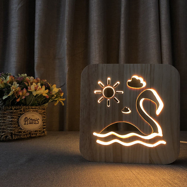 Flamingo - 3D Wooden Nightlight