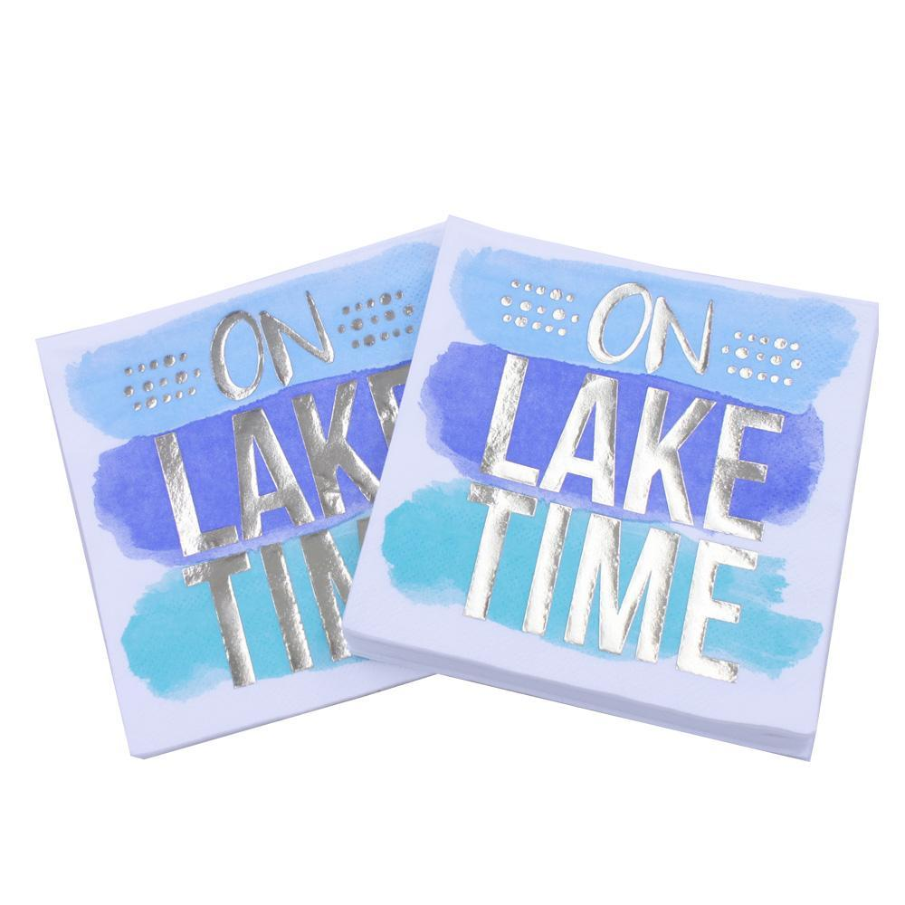 On Lake Time - Funny Cocktail Paper Napkin