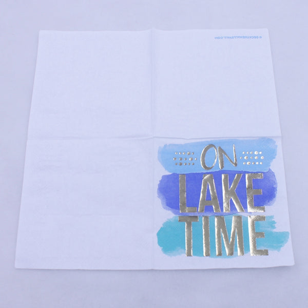 On Lake Time - Funny Cocktail Paper Napkin Open Full View