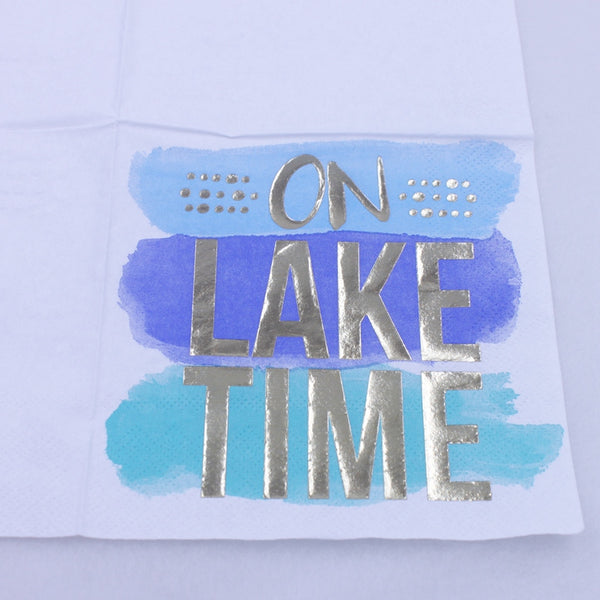 On Lake Time - Funny Cocktail Paper Napkin Close Up