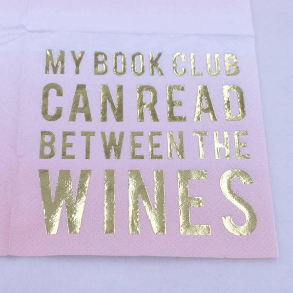 My Book Club Can Read Between The Wines - Funny Cocktail Paper Napkin Close Up