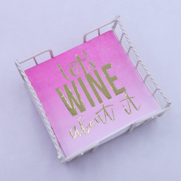 Let's Wine About It - Gold Foil Paper Napkin
