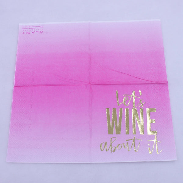 Let's Wine About It - Funny Cocktail Paper Napkin Open Full View