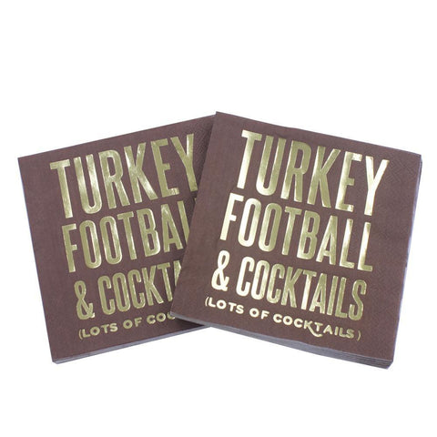 Turkey Football & Cocktails (Lots of Cocktails) - Funny Cocktail Paper Napkin