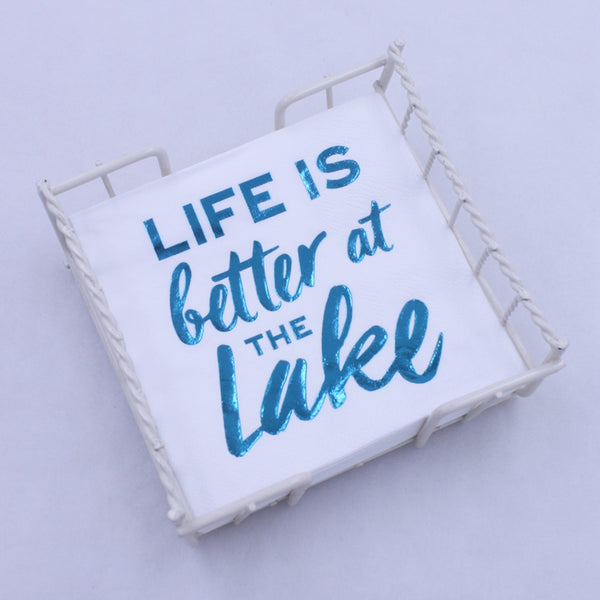 Life Is Better At The Lake - Blue Foil Paper Napkin