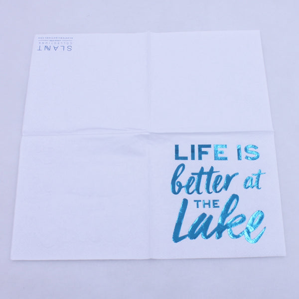 Life Is Better At The Lake - Funny Cocktail Paper Napkin Open Full View