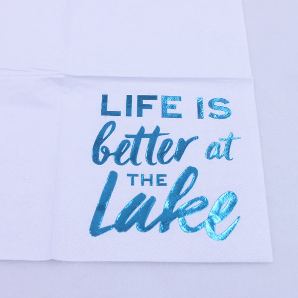 Life Is Better At The Lake - Funny Cocktail Paper Napkin Close Up
