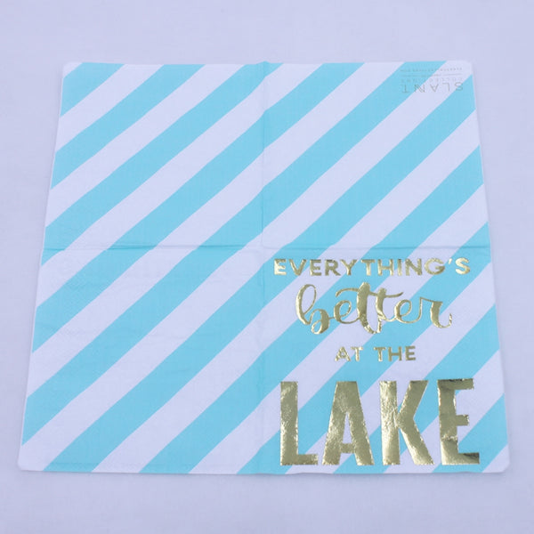 Everything's Better At The Lake - Funny Cocktail Paper Napkin Open Full View