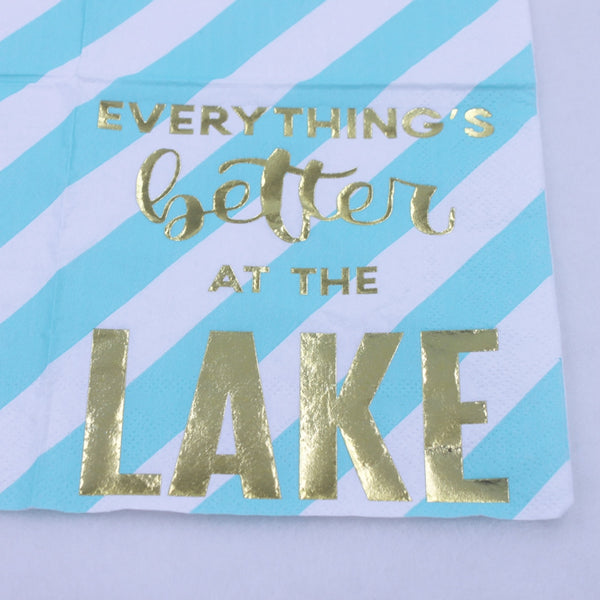 Everything's Better At The Lake - Funny Cocktail Paper Napkin Close Up