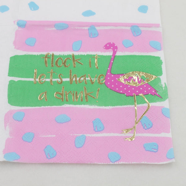 Flock It Let's Have A Drink - Funny Cocktail Paper Napkin Close Up