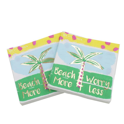 Beach More Worry Less - Decorative Cocktail Paper Napkin