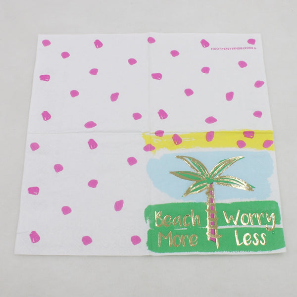 Beach More Worry Less - Decorative Cocktail Paper Napkin Open Full View