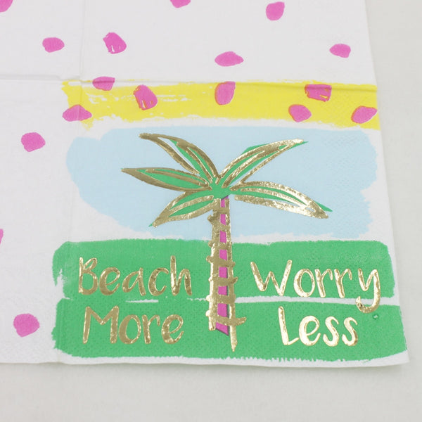 Beach More Worry Less - Decorative Cocktail Paper Napkin Close Up