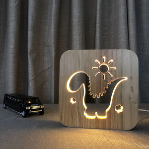 Dinosaur - 3D Wooden Nightlight / Creative Lamp
