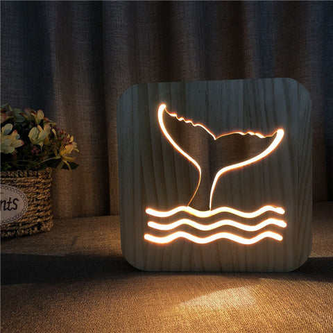 Whale Tail - 3D Wooden Nightlight / Creative Lamp