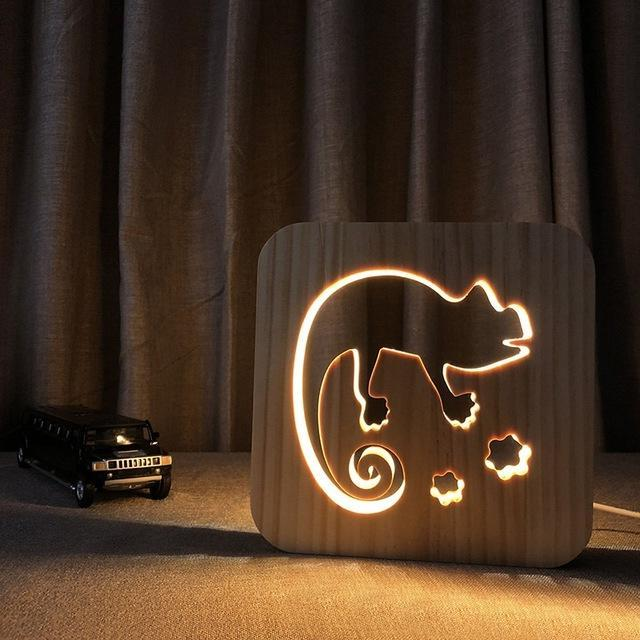 Chameleon 3D Wooden Nightlight