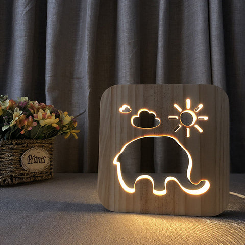 Baby Elephant 3D Wooden Nightlight