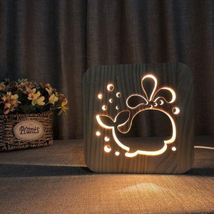 Whale - 3D Wooden Nightlight