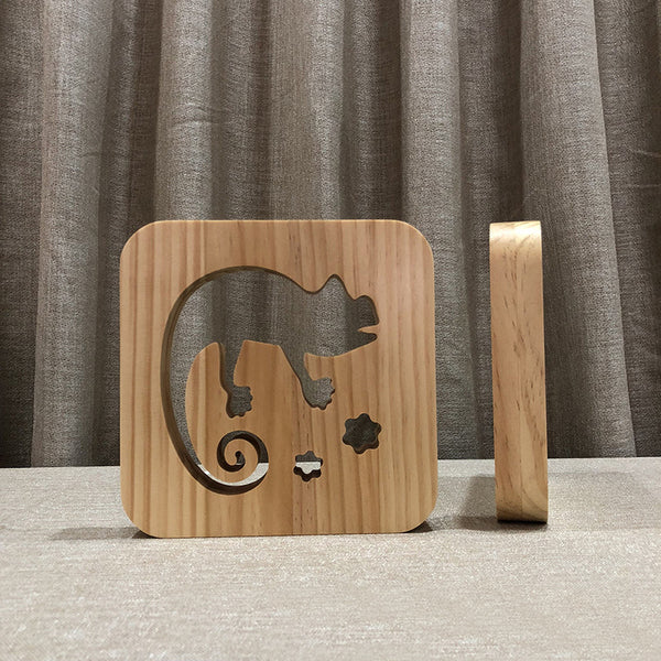 Chameleon - 3D Wooden Nightlight / Creative Lamp