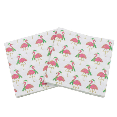 Christmas Flamingos - Decorative Cocktail Paper Napkin