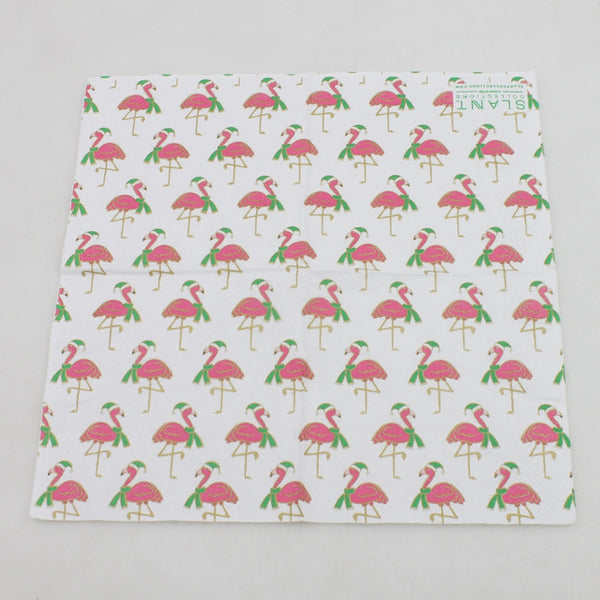 Christmas Flamingos - Decorative Cocktail Paper Napkin Open Full View