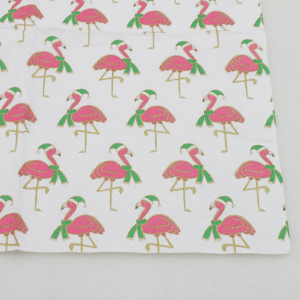 Christmas Flamingos - Decorative Cocktail Paper Napkin Close Up