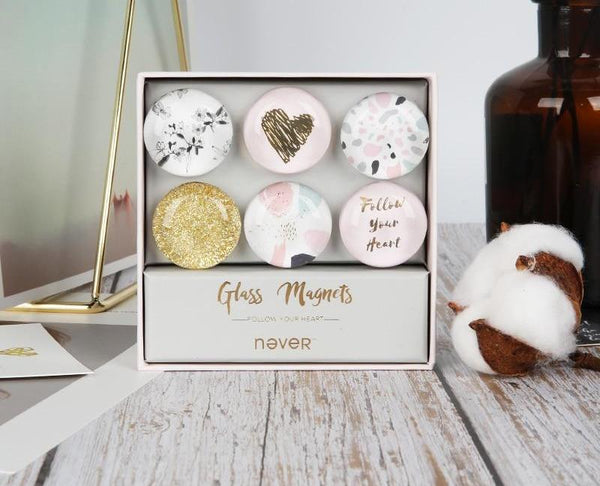 Clear Glass Magnets - Follow Your Heart Series