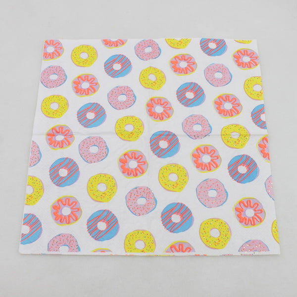 Donuts - Decorative Cocktail Paper Napkin Open Full View