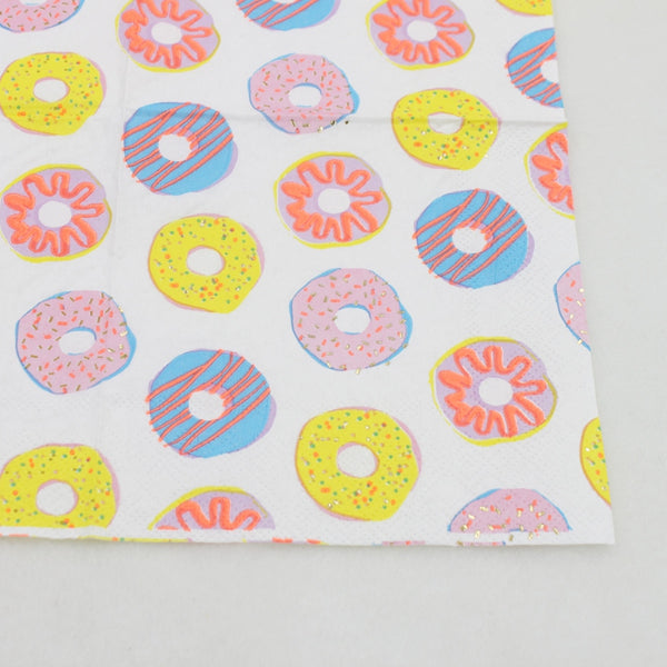 Donuts - Decorative Cocktail Paper Napkin Close Up