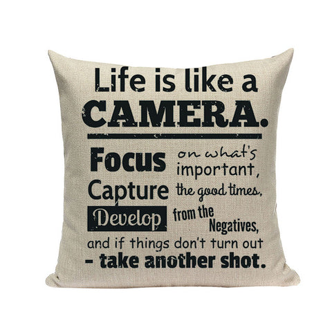 Life Is Like A Camera - Decorative Cushion Cover