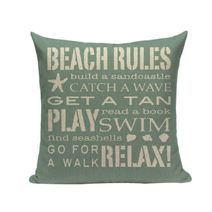 Beach Rules - Decorative Cushion Cover