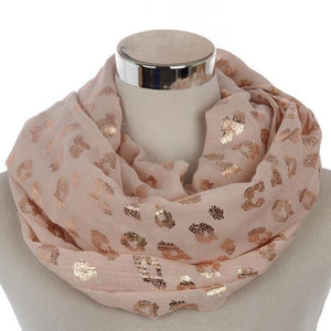 Rose Gold Foil Leopard Print Infinity Scarf