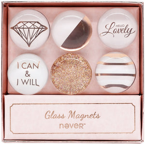 Never Rose Gold Clear Glass Magnets