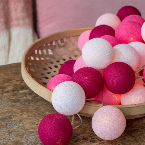 Hot Pink & White Cotton Ball Fairy Lights