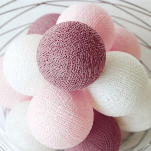 Soft Pink & White Cotton Ball Fairy Lights