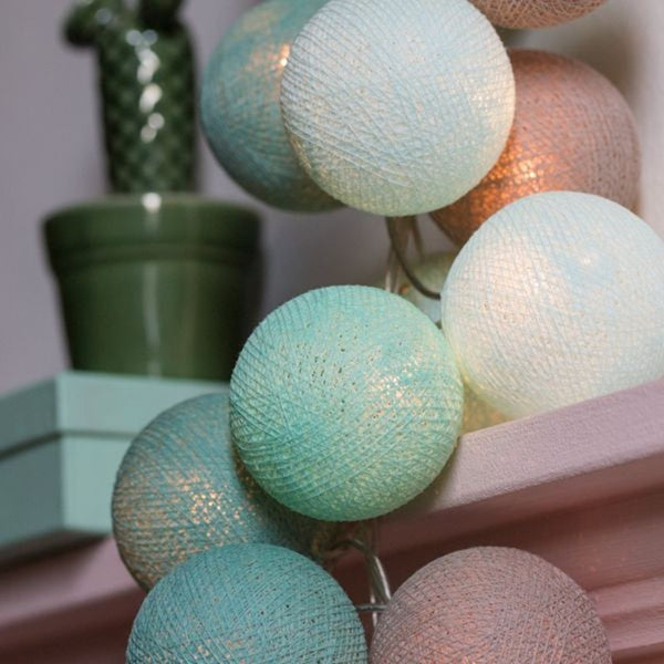 Turquoise, Mint & Gray Cotton Ball Fairy Lights