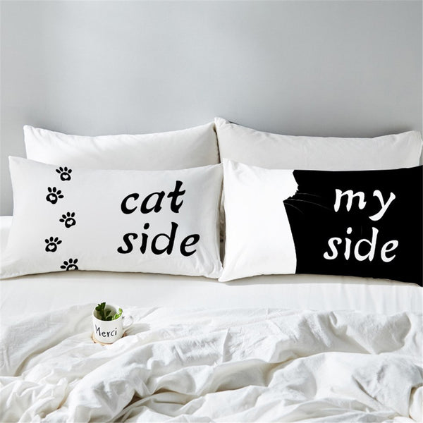 Cat side my side white pillowcase cover funny pillow cases