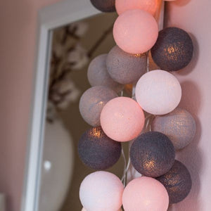 Pink, Gray & White Cotton Ball Fairy Lights
