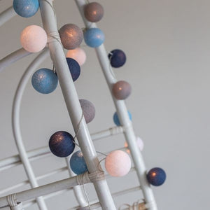 Blue, Gray & White Cotton Ball Fairy Lights