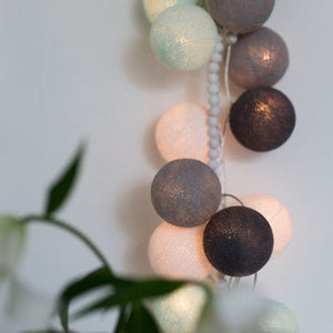 Aqua, Gray & White Cotton Ball Fairy Lights