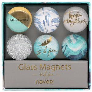 Clear Glass Magnets Be Free Series