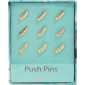 Gold Feather Metal Push Pins