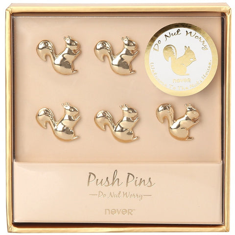 Squirrel Shape Gold Metal Push Pins