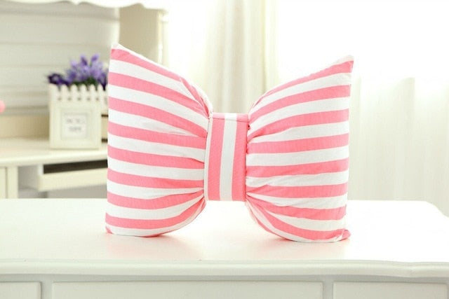 Pink Striped Bow - Decorative Pillow Collection