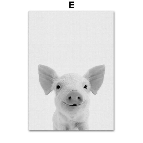 Black & White Nursery Animals - Canvas Wall Art