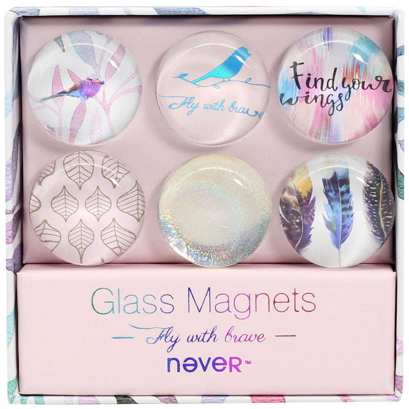 Clear Glass Magnets - Find Your Wings Series
