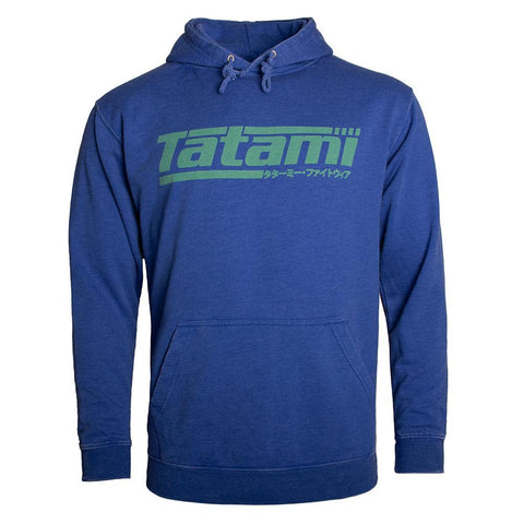 Kanji Print Hoodie - Washed Royal Blue