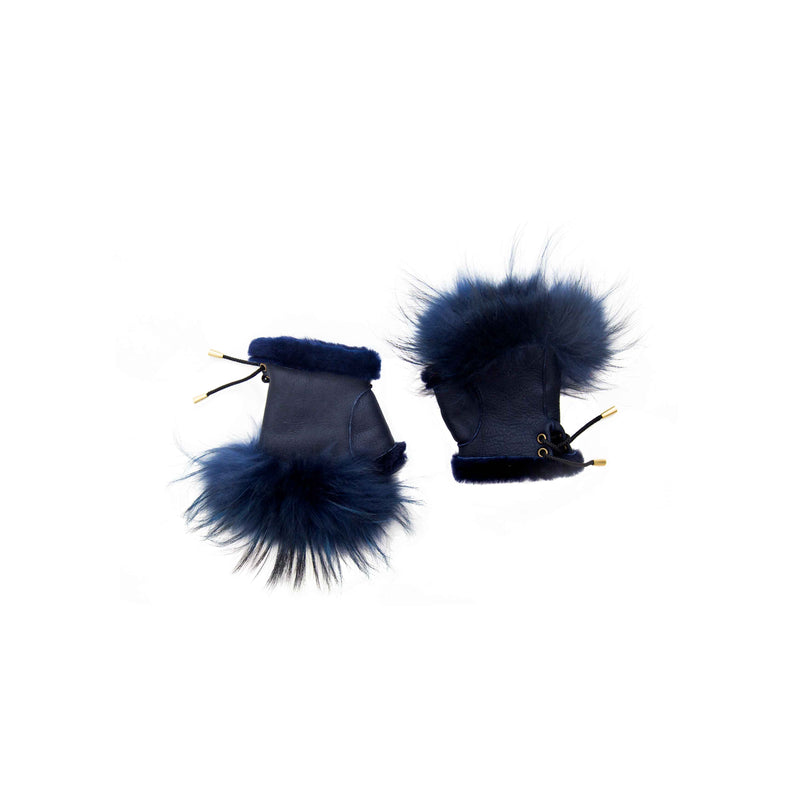 Navy Fox Fingerless Shearling Gloves