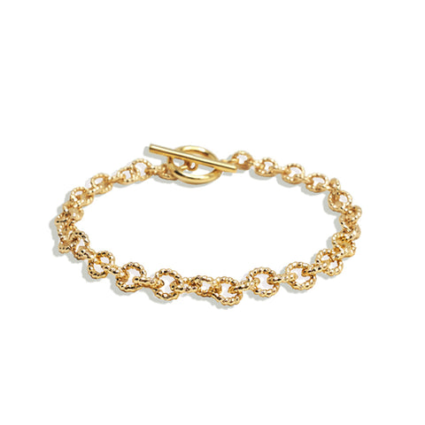 Gold Unique Textured Chain Bracelet - IT STYLE BOX